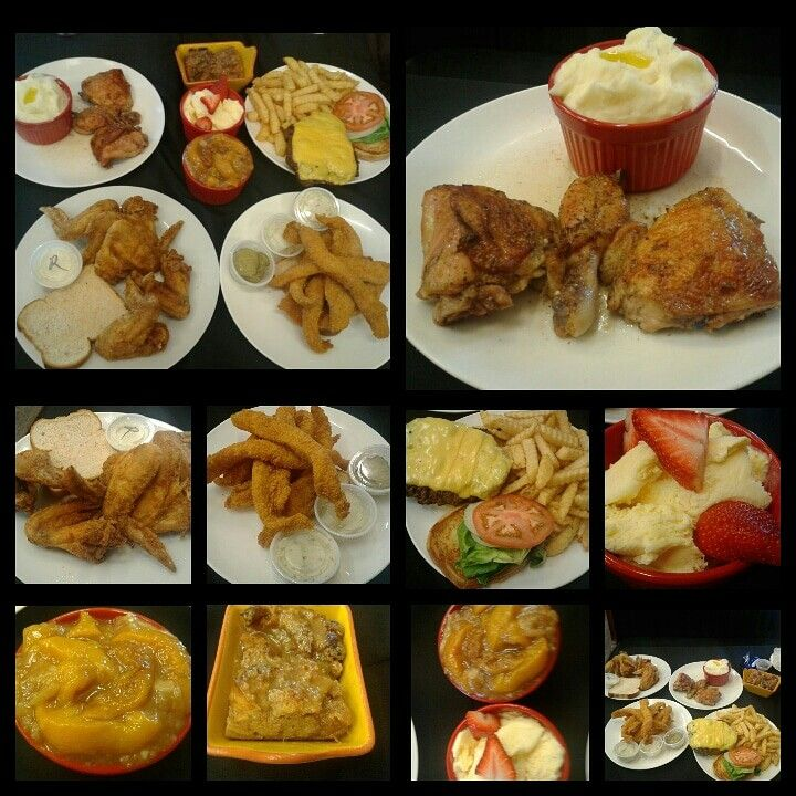 Gourmet Soul Restaurant and Catering, St. Louis, MO  Baked Chicken, Fried Chicken Wings, Mashed Potatoes, Swai Fish, Housemade Cheeseburger, French Fries, Peach Cobbler, Bread Pudding and Vanilla Ice Cream