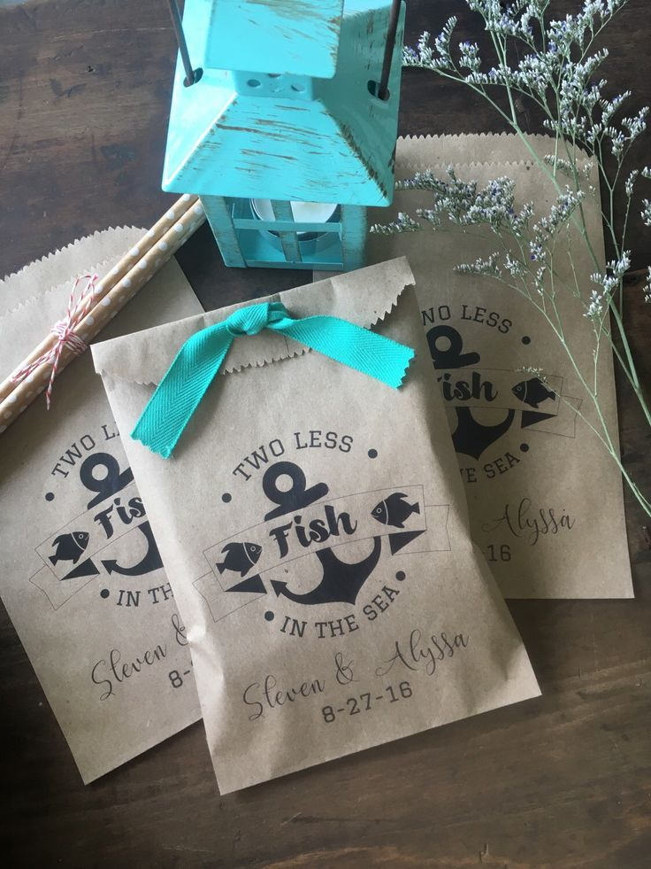 Wedding Favors, Wedding Favor Bags, Two Less Fish in the Sea, Candy, Cookie or Confetti Bags for Receptions or Bridal Showers by DetailsonDemand on Etsy https://www.etsy.com/listing/286244675/wedding-favors-wedding-favor-bags-two