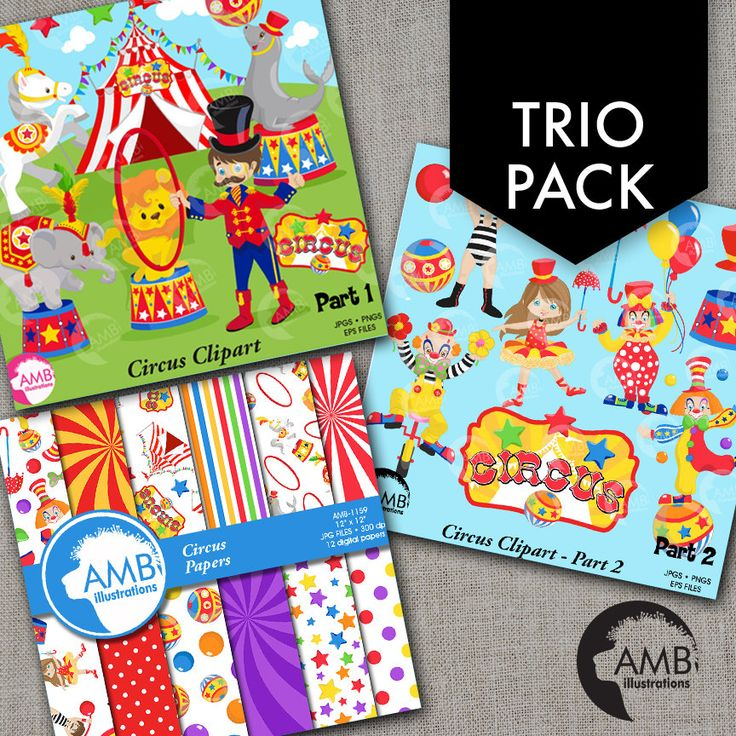 TRIO Circus Clipart and Digital Pack Circus Animals and