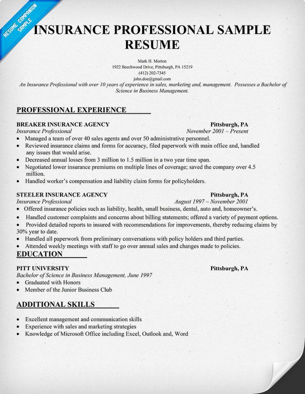Insurance Professional Resume Sample (resumecompanion - insurance sample resume