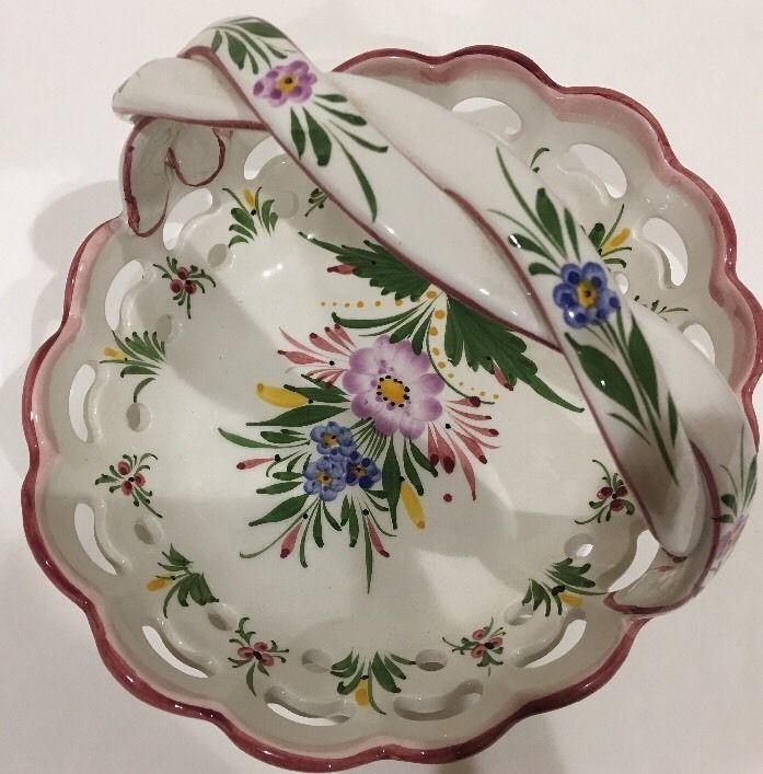 Vintage RCCL Portugal Hand-Painted Porcelain White Floral Basket Braided Handle