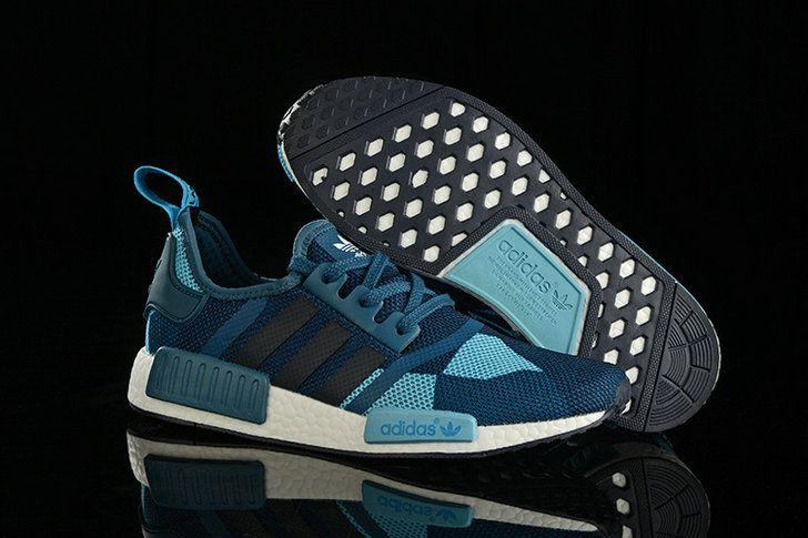 2018 Discount Adidas Original NMD Runner Power Blue Hyper Jade White Core  Black Shoe cc69c229f