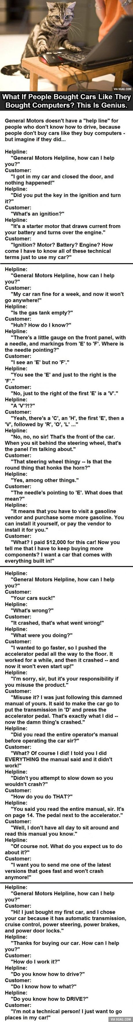 What if people bought cars like they buy computers? (Classic old tech humor) - Imgur