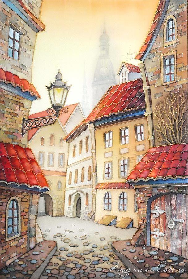 Картинки старого города рисунки, открытки новогодней открытки