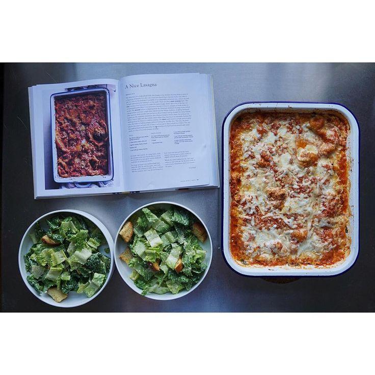 Dinner tonight from @turshen 's beautiful new book #smallvictoriescookbook . Lasagna and caesar salads. Will make again and again. #juliascaesar #pasta #progluten #dairyforever