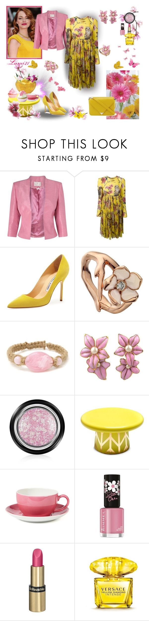 """""""SPRING'S SMILE"""" by lumi-21 ❤ liked on Polyvore featuring Jacques Vert, Dolce&Gabbana, Manolo Blahnik, Shaun Leane, Chanel, Armani Beauty, Alexander Wang, Bosa, Dibbern and Rimmel"""