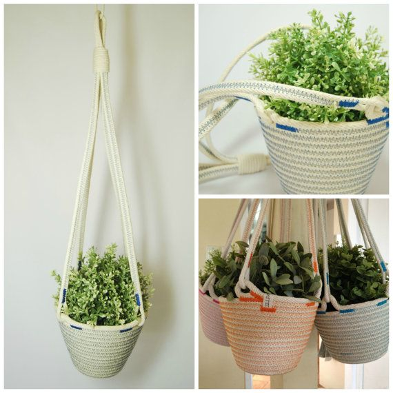 Rope Plant Hanger // Custom Colour by Zillpa on Etsy