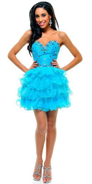 CLEARANCE - Ruffle Layer Tulle Skirt Turquoise Prom Dress Strapless Boned Rhinestones