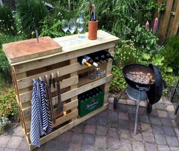 Neskolko Shikarnyh Idej Iz Derevyannyh Poddonov Na Dache Diy Bbq Outdoor Bar Table Pallet Furniture Outdoor