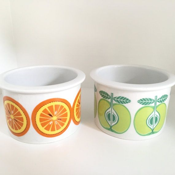 ARABIA Finland Pomona MINT orange and apple jar / Uosikkinen marmalade jar jam jar home decor / Scandinavian modern mid century modern : アラビア tableware usa - pezcame.com