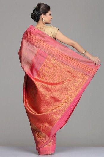Self-Striped Coral Pink Kanjivaram Silk Saree With Half-Fine Gold Zari Striped Border Pallu With Floral Motifs
