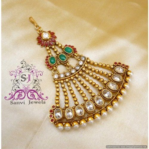 Online Shopping for Polki kundan Jhoomar ( Paasa ) | Maang Tikkas | Unique Indian Products by Sanvi Jewels Pvt. Ltd. - MSANV89885282180