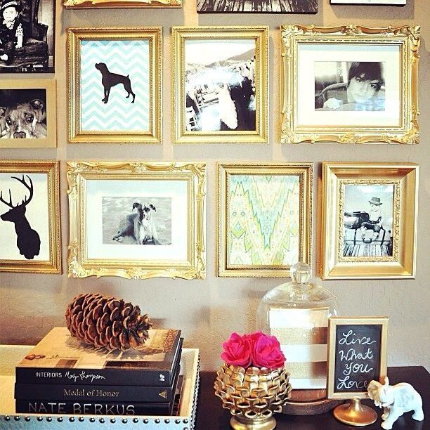 Gold frame collage wall