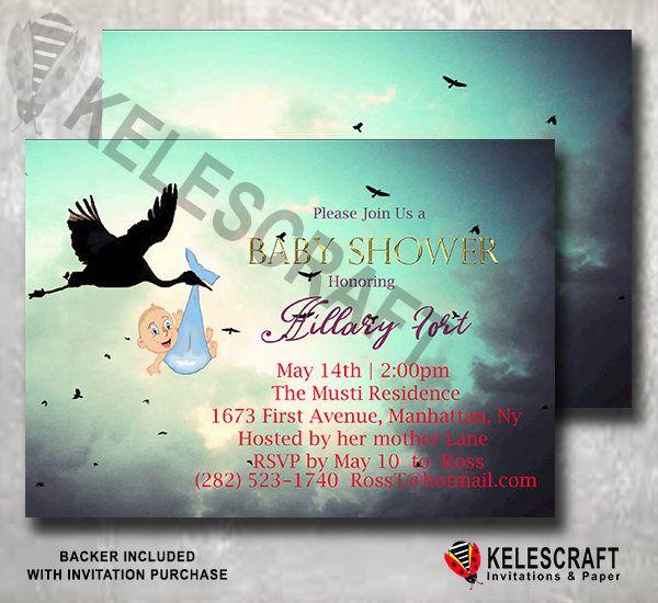 Navy Cloudy Sky Baby Shower Invite Stork bringing baby Oh Baby Shower Invite Ready Made Printed Baby Shower Invitation Golden  DiY Printable by KelesCraft on Etsy