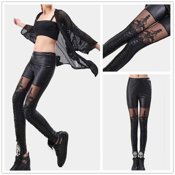 Nouveau mode gothique Punk en Faux cuir dentelle Slim Legging Leggings Punk pantalons cadeaux d'anniversaire sur Etsy, 11,83€