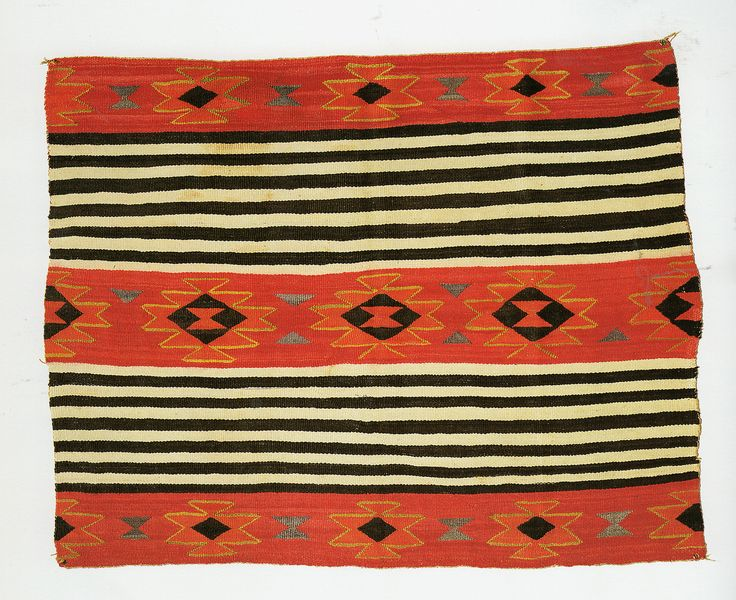 https://flic.kr/p/geQWd8 | Pound Blankets | Transitional blanket, c. 1890s Woman's chief-style pattern. Tapestry weave, diagonal 55*68 inches; 6 warps/inch, 18 wefts/inch