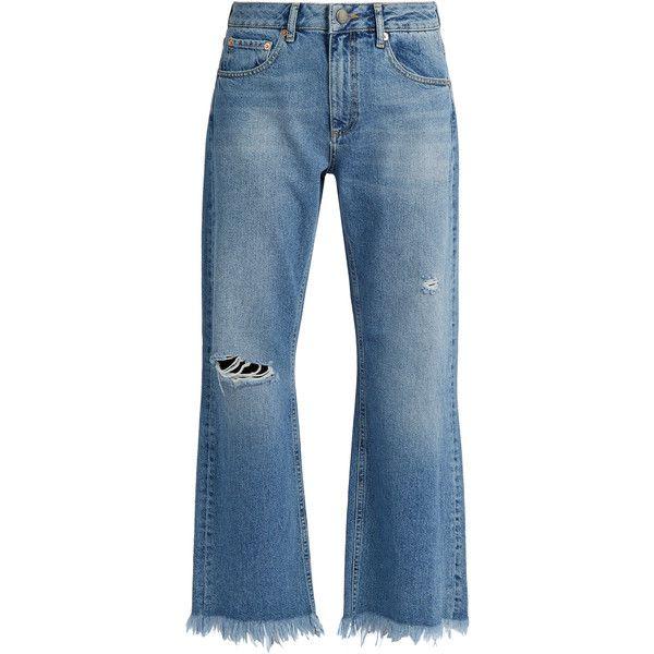 Raey Max asymmetric hem wide-leg jeans ($145) ❤ liked on Polyvore featuring jeans, pants, bottoms, denim, raey, light denim, wide leg denim jeans, blue denim jeans, denim jeans and distressed jeans