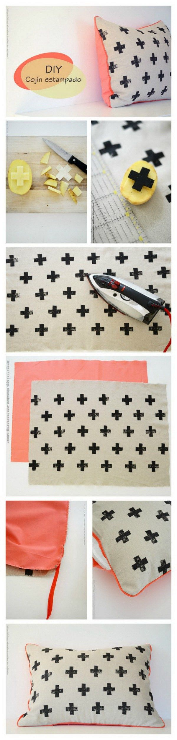 DIY Potato Stamped Pillow with Cross Prints: Create a fun pillow using a potato stamp and fabric ink! An easy and pretty DIY project for teenage…
