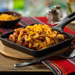 This satisfying blend of kidney beans, salsa, macaroni, chili powder and cumin boasts a pronounced south-of-the-border flavor.