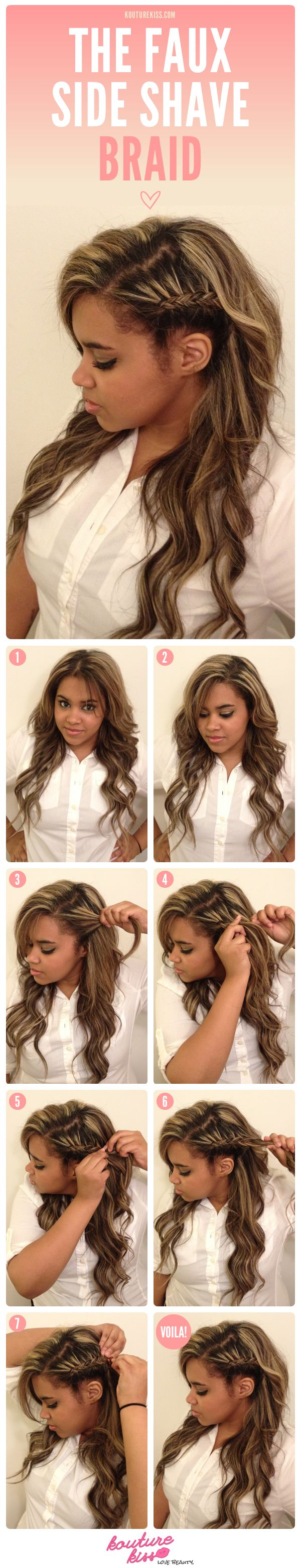 """The Faux Side Shave Braid' - Get the edgy look without the long term commitment of shaving your hair! #Hair #Style #DIY"