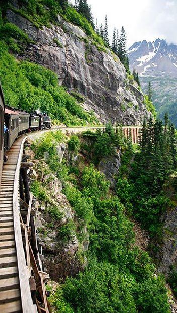 Train ride into White Pass from Skagway, Alaska