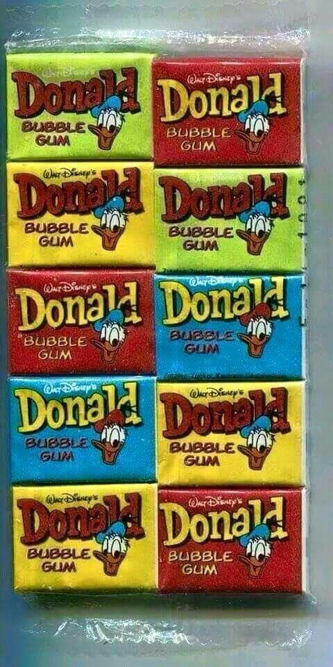 Donald duck kauwgom! met een plaatje erin om te verzamelen. volgens mij tatoe's.