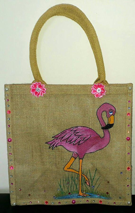 Flamingo jute bag. Personalised Jute bag. Personalised