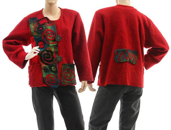 Boho red boiled wool jacket  felt appliqués fall wool