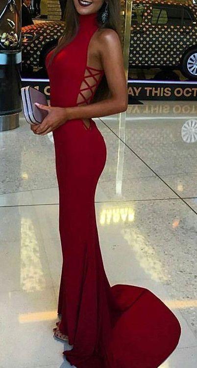 Red High Neck Sheath Stretch Satin Prom Dresses 2017