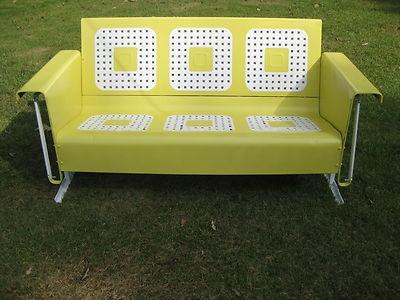 Refurbished Vintage Metal Porch Patio Glider ~ Lemon Meringue Yellow