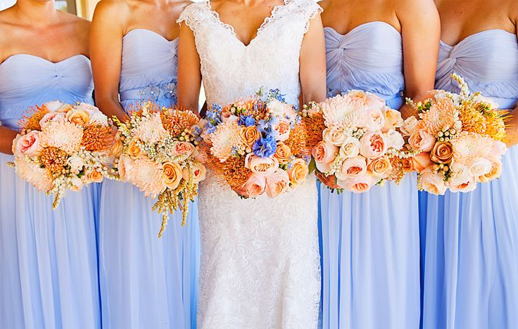 Peach and baby blue bouquets