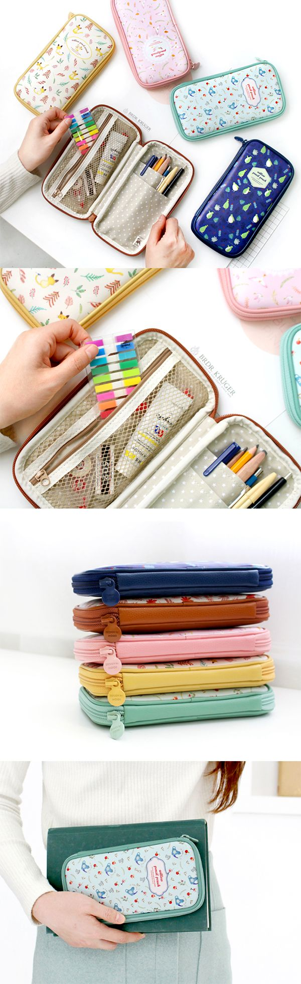 Simple pencil pouches don't cut it anymore! My pencil pouch needs to do more, like helping me organize my supplies & protecting them from wearing out! This adorable pouch has a zippered pocket on one side & 2 open pockets on the other so my stuff won't fall out when I open it. I can keep my erasers & index sticky notes in the zippered pocket while my pens, pencils, & scissors go into the open pockets. All 5 styles are lovely & I can also use this pouch for my makeup, knitting, or craft…