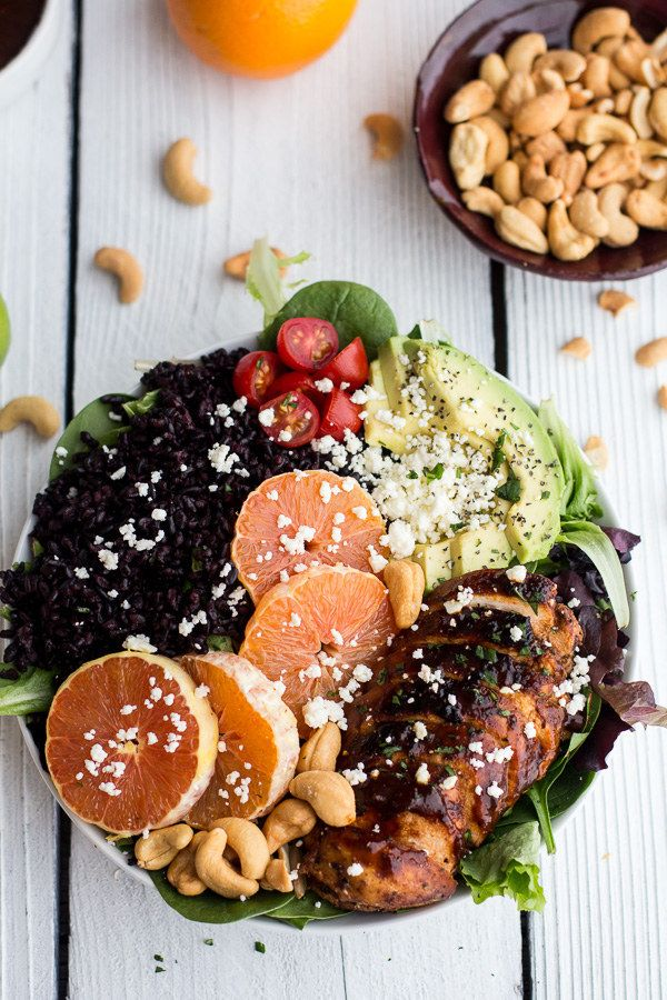 Black Rice Salad Bowls with Chipotle-Orange Chicken, Cashews, and Feta