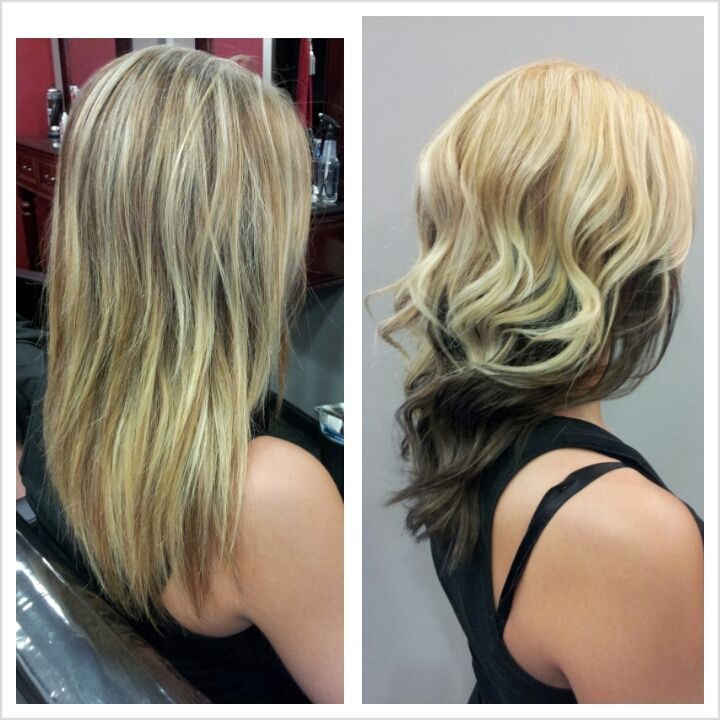 Beautiful hair color results! All over blonde hair with dark brown underneath.
