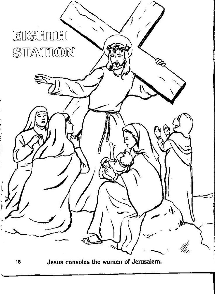 Catholic Stations of the Cross Coloring Pages Cross