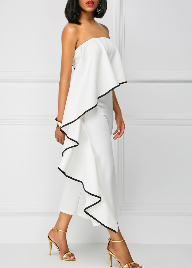 Ruffle Overlay Strapless White Jumpsuit with trim.