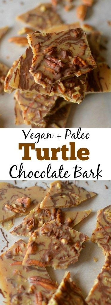 Only 5 ingredients are needed to create this tasty, decadent Turtle Pecan Candy Bark! With the great flavor combo of pecans, chocolate and caramel, you'd never guess this bark is paleo + vegan!
