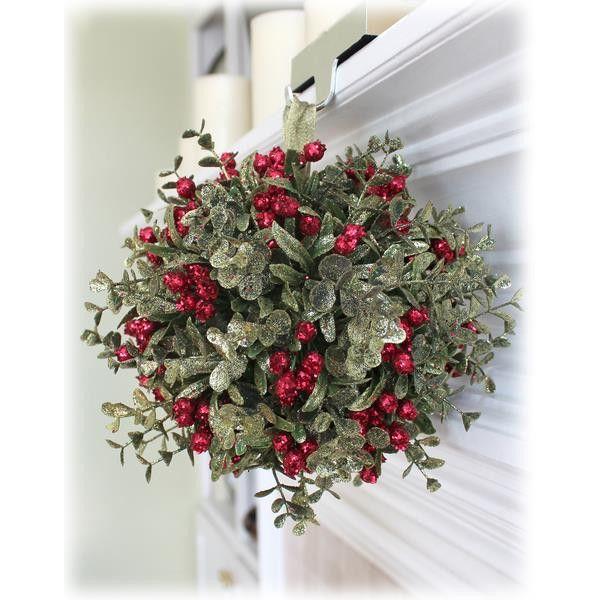 10in Mistletoe Kissing Ball Ornament in Evergreen #KK04 - House of Holiday