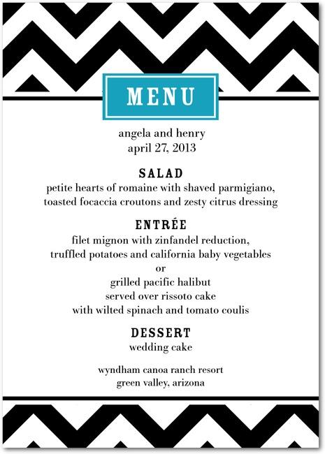 A chevron wedding reception menu card featuring a bold design and classic template.
