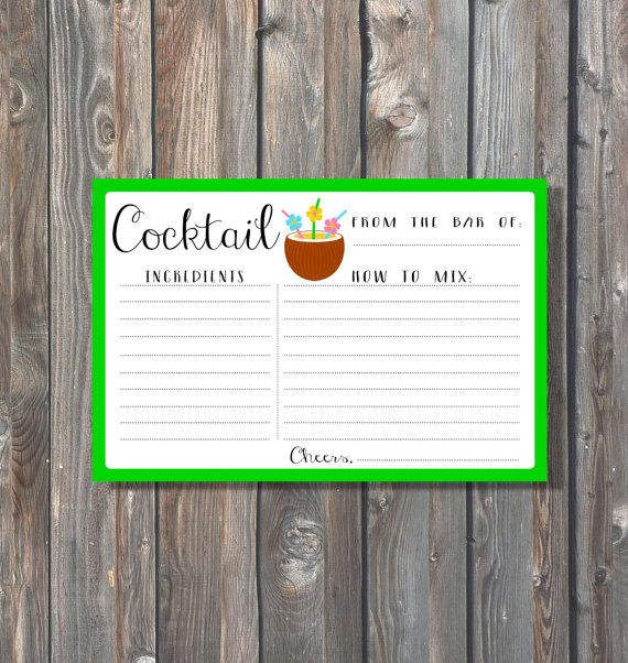 Printable Tropical Cocktail Recipe Card -4x6 Cocktail Card-Bridal Shower Recipe Card-Drink Card-Kitchen Shower Card-Instant Download-D01