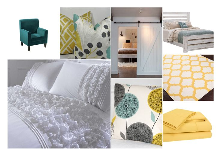 Master Bedroom Yellow Grey Teal Clean White Bedding