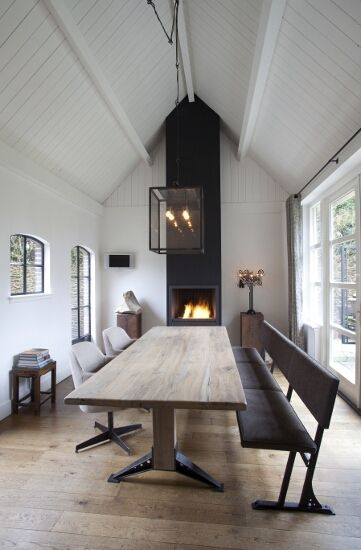 Modern Scandinavian dining room. Love the stark look, natural finishes, whire paint and board and beams in ceiling. Moving there someday.