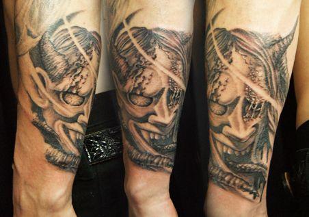 japanese traditional demon tattoo design black&gray tokyo tifanatattoo