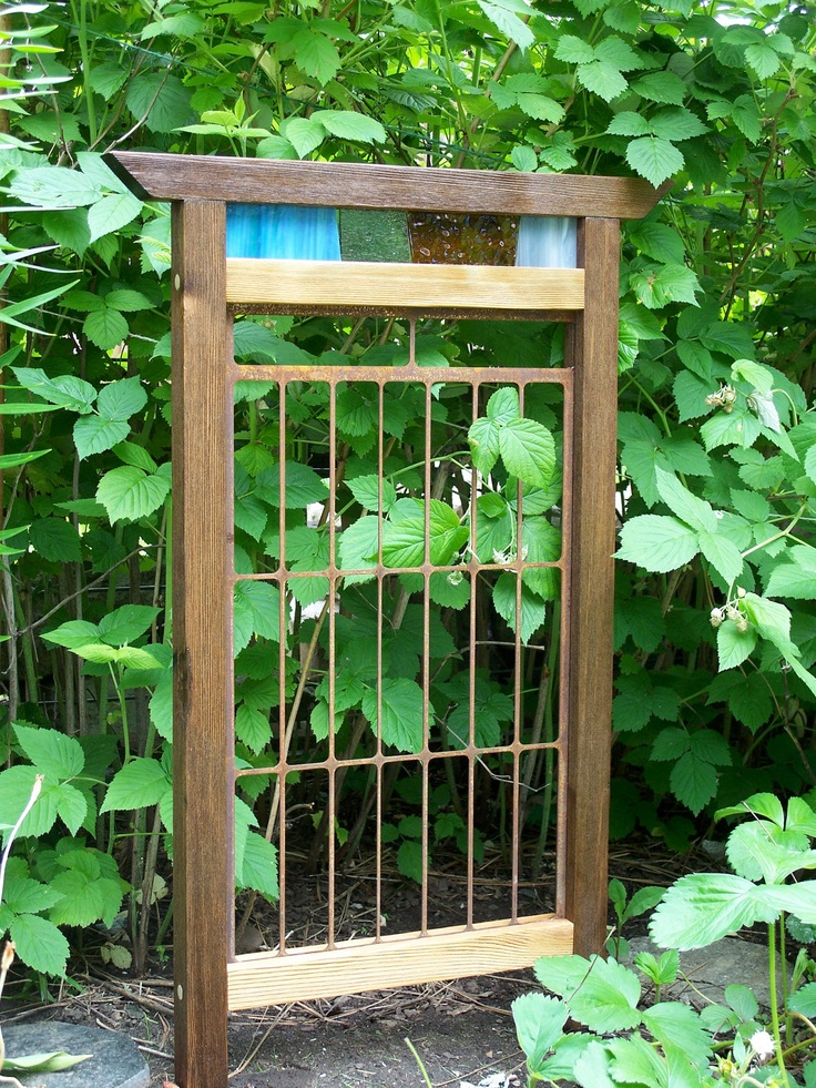 Garden Decor, Garden Screen With Stained Glass Accent, Hand Crafted Garden Art. $98.00, via Etsy.