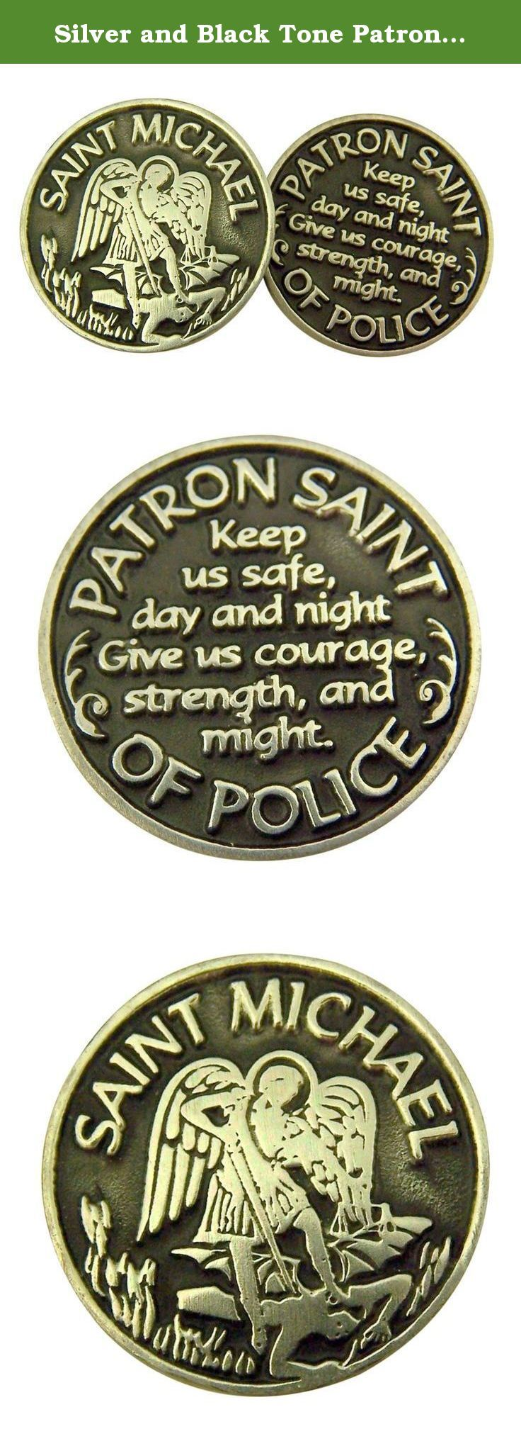 Silver and Black Tone Patron of Police Saint Michael Devotional Prayer Token, 1 1/8 Inch. Tokens are made of zinc alloy and enamel. Keep in your pocket, wallet, or purse as a daily devotional reminder.