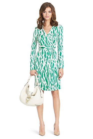 Love the color and fun pattern and, of course, the wrap dress