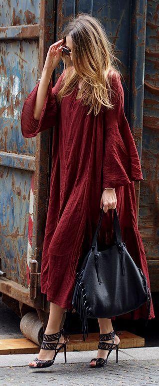 Oxblood Boho Maxi Dress #Fashionistas