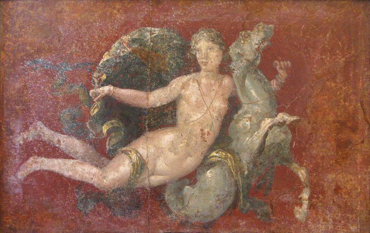 #ALDILA' #FELICITA' ETERNA  Nereide su cavallo marino, mosaico, Museo Archeologico Nazionale di Napoli. Le Nereidi nella mitologia greca sono delle ninfe marine, figlie di Nereo e della Oceanina Doride. Facevano parte del corteo di Poseidone insieme ai Tritoni e venivano rappresentate come fanciulle con i capelli ornati di perle, a cavallo di delfini o cavalli marini. Le Nereidi più note sono Anfitrite, sposa di Poseidone, Galatea e Teti, madre di Achille.