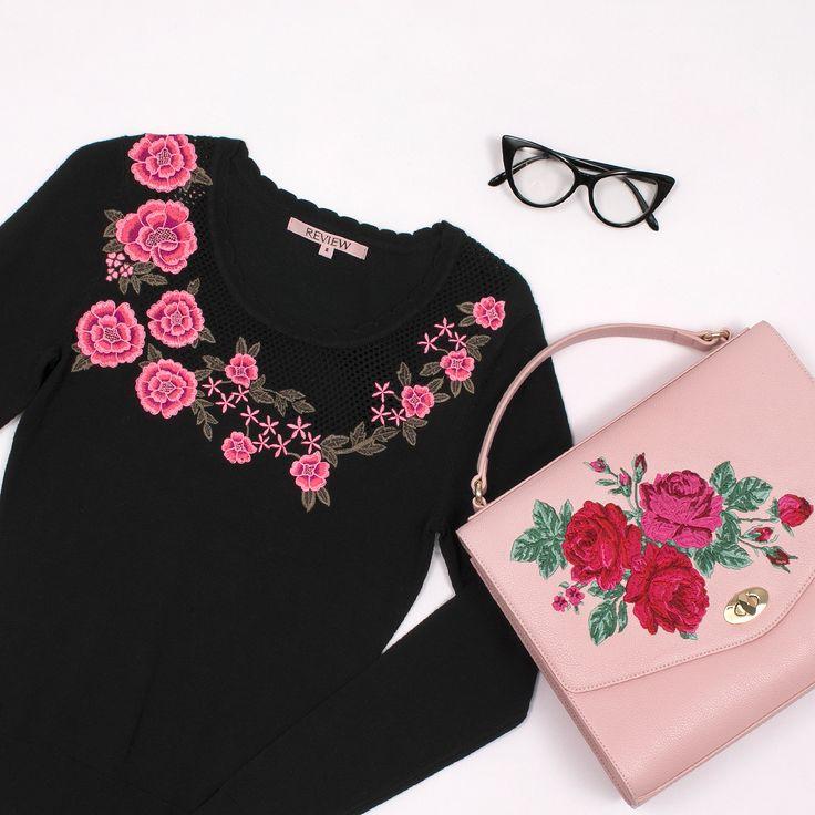 True Romance Jumper | Black and Multi Floral Fantasy Bag | Blush