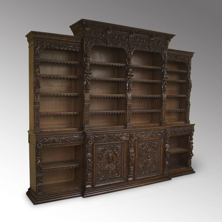 Antique a magnificent carved oak renaissance style breakfront open bookcase